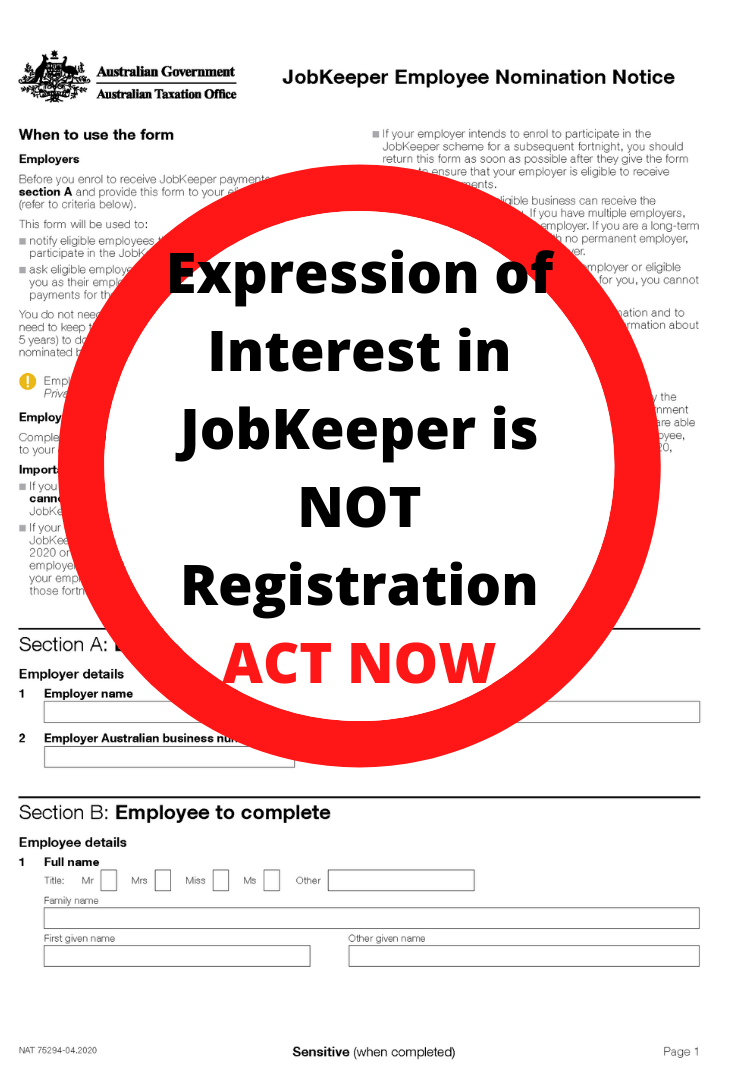 Important - JobKeeper Registration (not Expression of Interest)